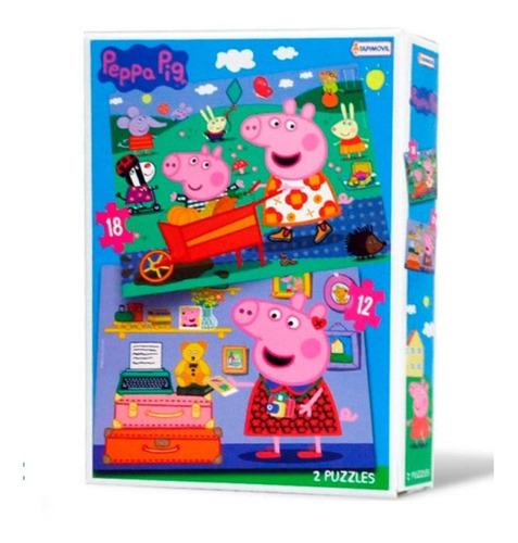 rompecabezas peppa pig 2 puzzle 12 y 18 pcs - villa urquiza