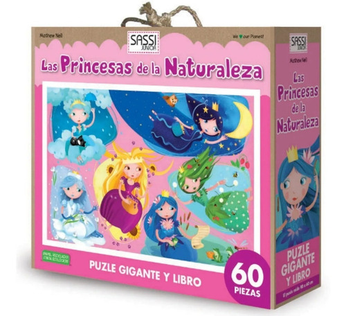 rompecabezas puzzle 60pzs + libro princesas de la naturaleza