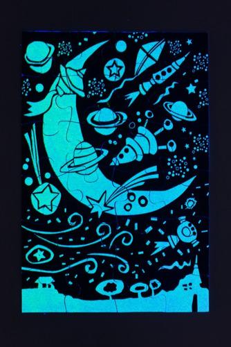rompecabezas puzzle flúo brilla en la oscuridad 24 piezas