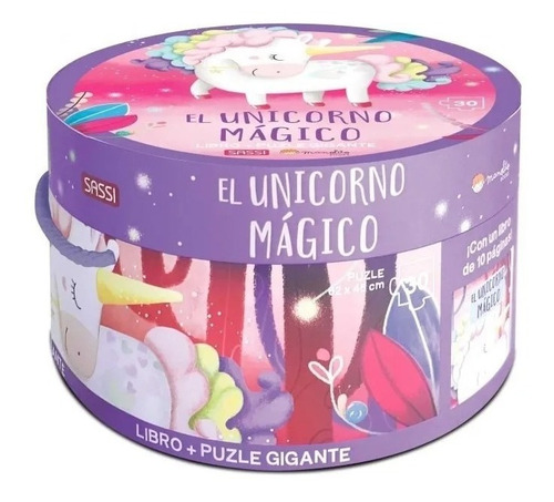 rompecabezas puzzle gigante 30 pzs + libro unicornio magico