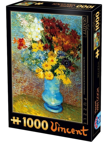 rompecabezas van gogh: flores en florero azul 1000 pz d-toy