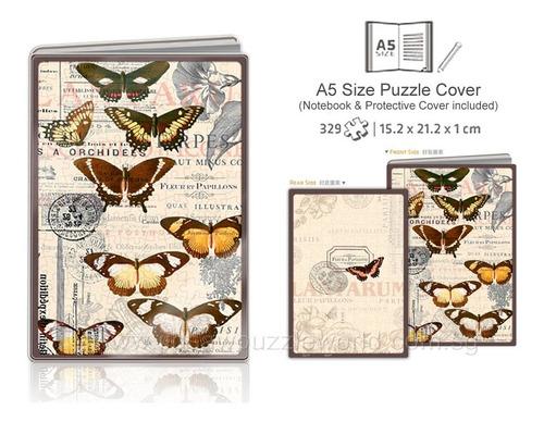 rompecabezas y libreta floral y mariposas mca. pintoo