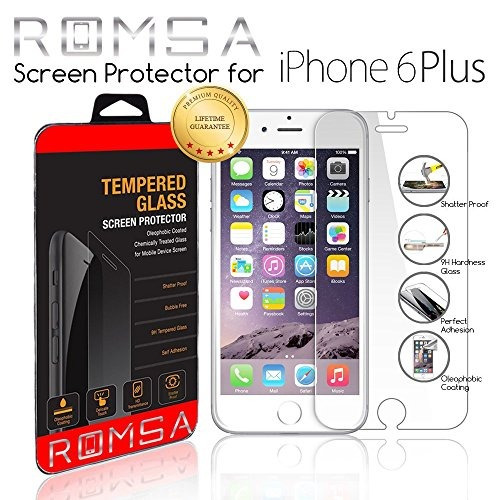 romsa iphone 6/6s plus tempered glass screen protector oleop