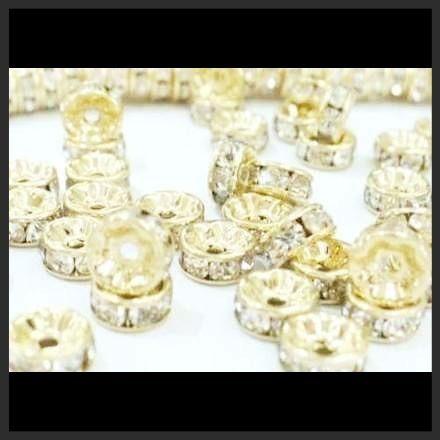 rondel cristalino chapa oro 14k 8mm bisutería pulseras 25pz