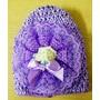 Chicas Bebé Waffle Lila Perlas Crochet Sombrero 0-12 Meses