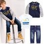 Conjunto Pantalón Jean, Camiseta, Chaqueta Bebe Y Niños Ropa