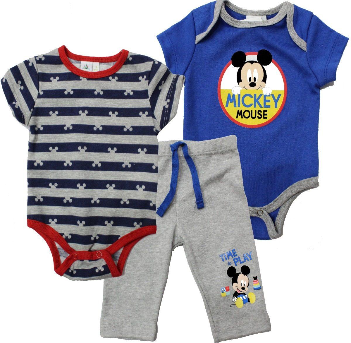54e758432 Ropa Bebe 3 Pañaleros Conjunto Niño De Mickey Mouse Disney ...