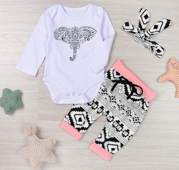 b5cbe79299ea6 Ropa Bebe Niña Pañalero Estampado Elefante Pantalón Tribal - U S ...