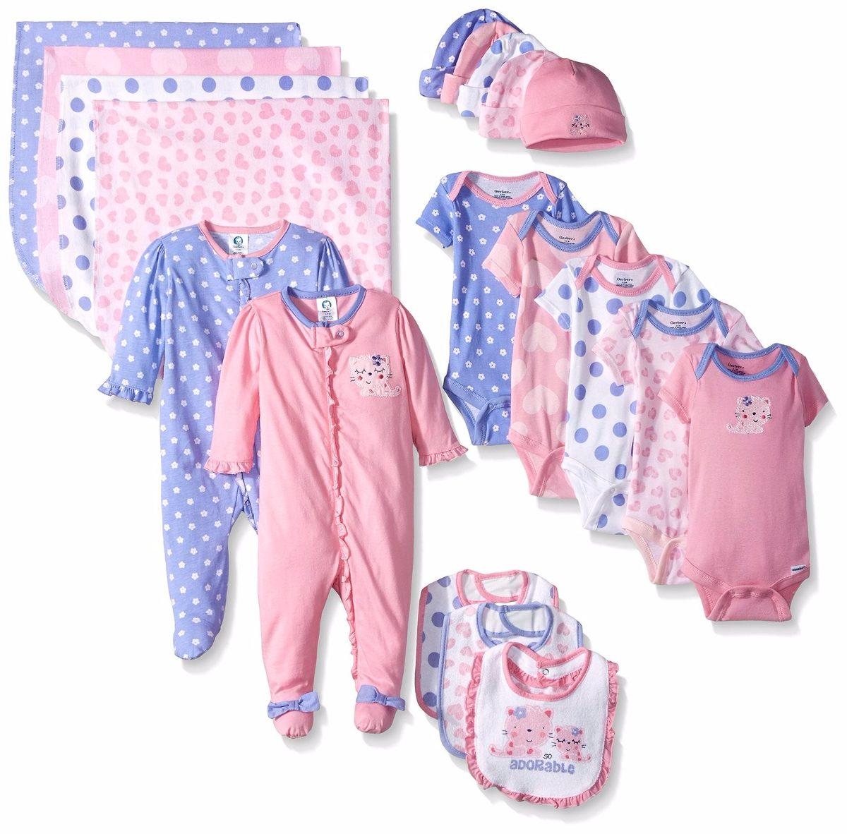Gerber Ropa De Bebé Para Niña, 19 Piezas Recién Nacido 0-3 ...