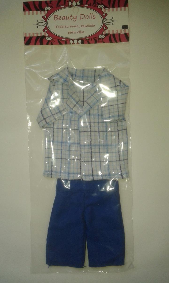 eb7e9d3a5 Cargando zoom... ropa-conjunto bermuda+camisa a cuadros para muñeco ken