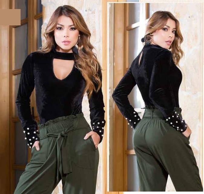 hermoso estilo aliexpress unos dias Ropa Damas Blusa Terciopelo Con Perlas Moda Colombiana