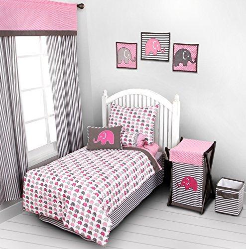 ropa de cama de bebé,los elefantes rosa  gris de 4 pieza..