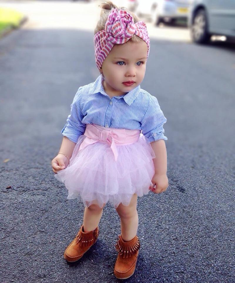 df0137211 Ropa De Moda Para Niña Bebé Falda Rosa Con Blusa Azul Rayas