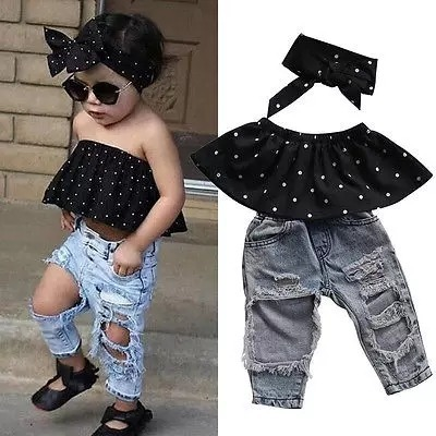 62892511e ropa de moda para niña blusa + jean rotos + balaca fashion ...