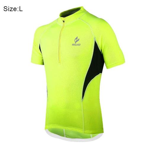 ropa deporte arsuxeo 665 bicicleta que compite jersey verde