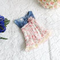 Vestido Bebe Denim Y Gasa Floral Importado