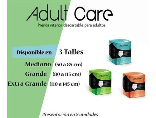 ropa interior descartable bombacha adult care g x 96 unidad