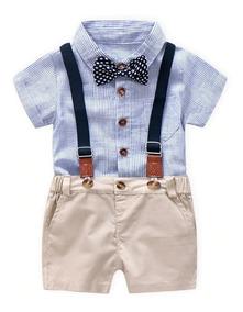 3231aa39f Ropa Moda Para Niño Conjunto Camisa Pañalero Con Short Cafe