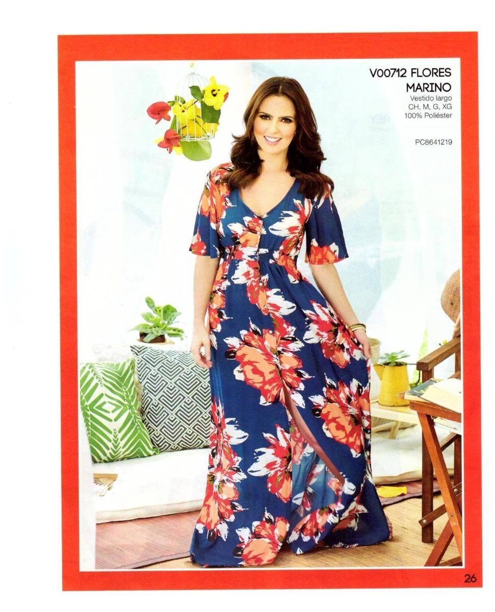 9180ba018 Ropa Mujer Maxi Vestido Largo Azul Flores Con Manga Cp18 -26 ...