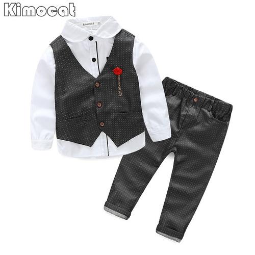 ropa niños conjunto 3 pz chaleco camisa pantalon de fiesta