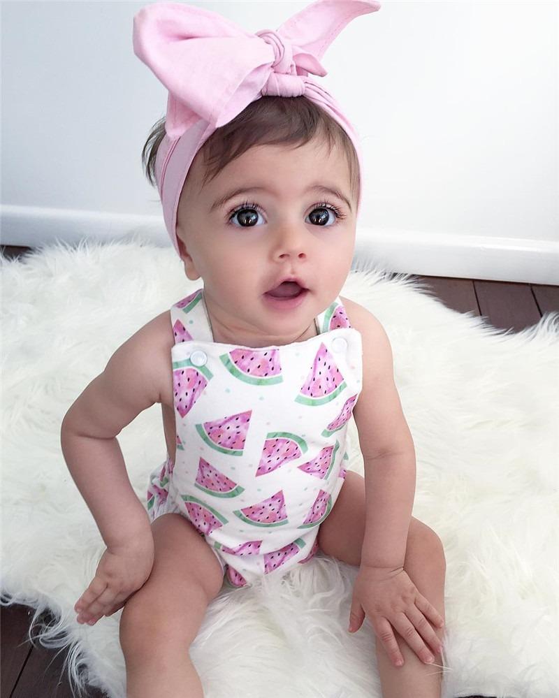 021ee1091 Ropa Para Bebe Niña Hermosa Moda Pañalero Estampado Sandias