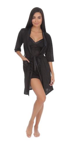ropa para dormir pijama para dama elegante conjunto de bata y  camison tela suave y satinada 7058