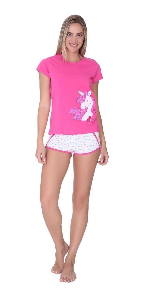 59e2f86c21ca Ropa Para Dormir Pijama Para Mujer Conjunto De Blusa Y Short Con Diseño De  Unicornio 8122