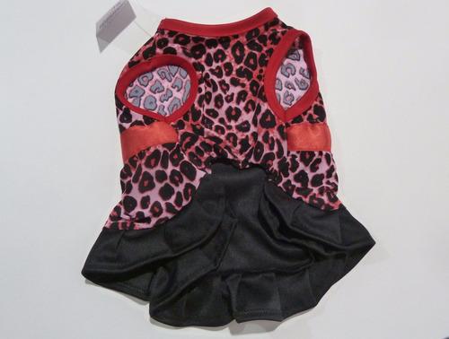 ropa para perro vestido para hembra con volado animal print