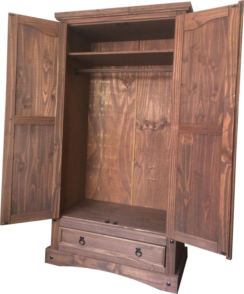 Ropero 2 puertas placard dormitorio madera maciza lcm for Roperos de madera para dormitorios