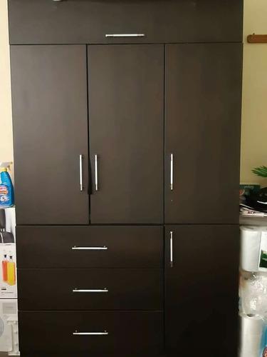 ropero 3 puertas elegante color marron oscuro melamine 18 mm