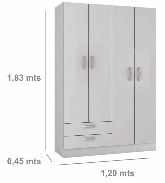 Ropero 4 Puertas 2 Cajones Placard Mueble Armario Divino - $ 2.745 ...