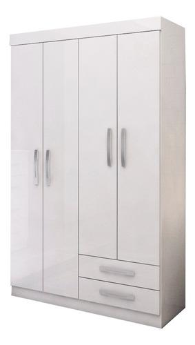 ropero 4 puertas infantil - 5 estantes y rieles metálicos