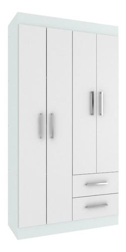 ropero 4 puertas rieles metálicos 5 estantes blanco