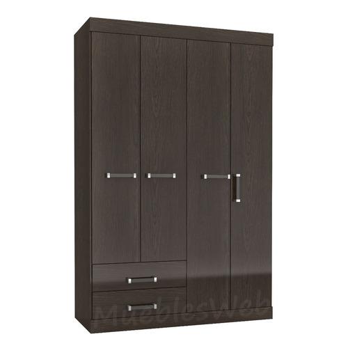 ropero 4 puertas y 2 cajones con rieles-unico con 7 estantes
