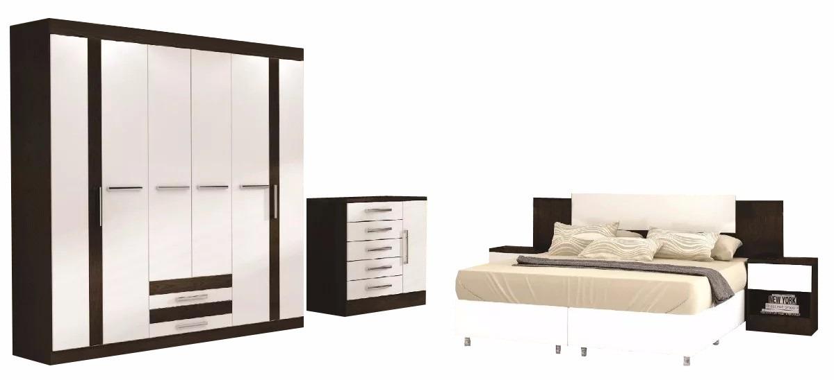 Ropero comoda respaldo c 2 mesas de luz juego de for Roperos para dormitorios
