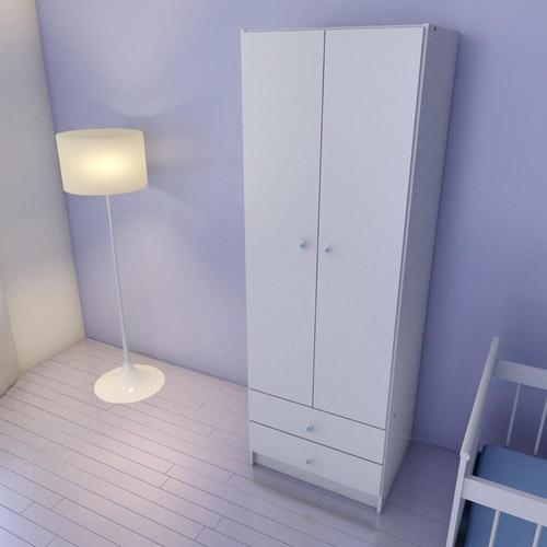 ropero de 2 puertas con cajonera color blanco