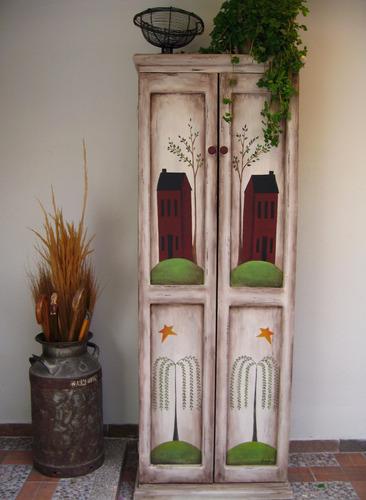ropero de madera, estilo vintage, pintado a mano
