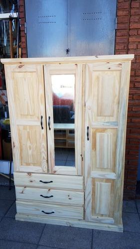 ropero de pino macizo con espejo 120x170