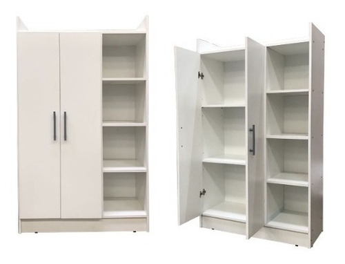 ropero placard 2 puertas 4 estantes cubo infantil blanco ^