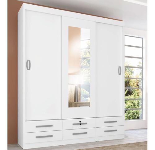 ropero placard 3 puertas 6 cajones espejo dormitorio 641 bl