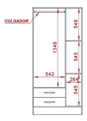 ropero placard 3 puertas mosconi express 2 cajones