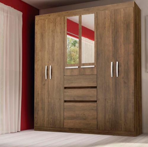 ropero placard 6 puertas 2 cajones espejo dormitorio 647 de