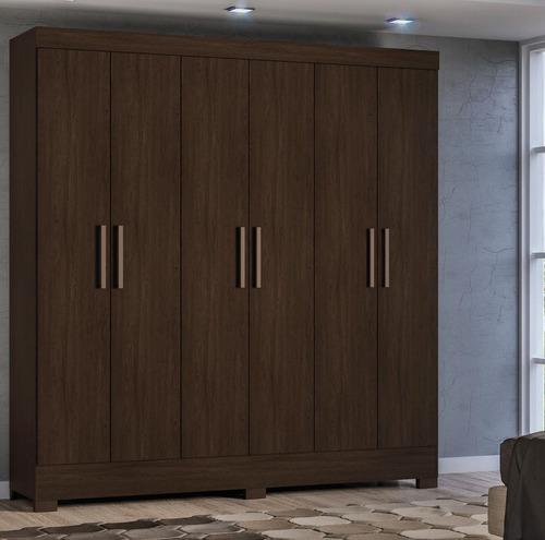 ropero placard 6 puertas con estantes color cafe practico