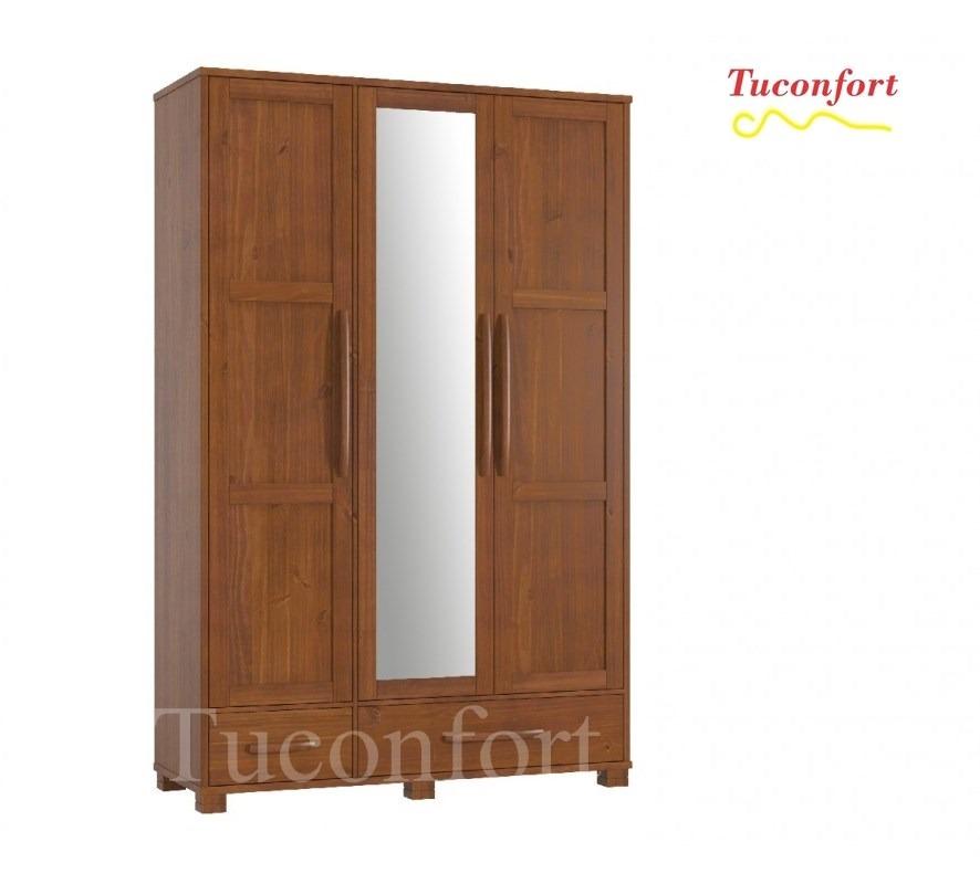 Ropero placard armario madera maciza dormitorio muebles for Muebles madera maciza uruguay