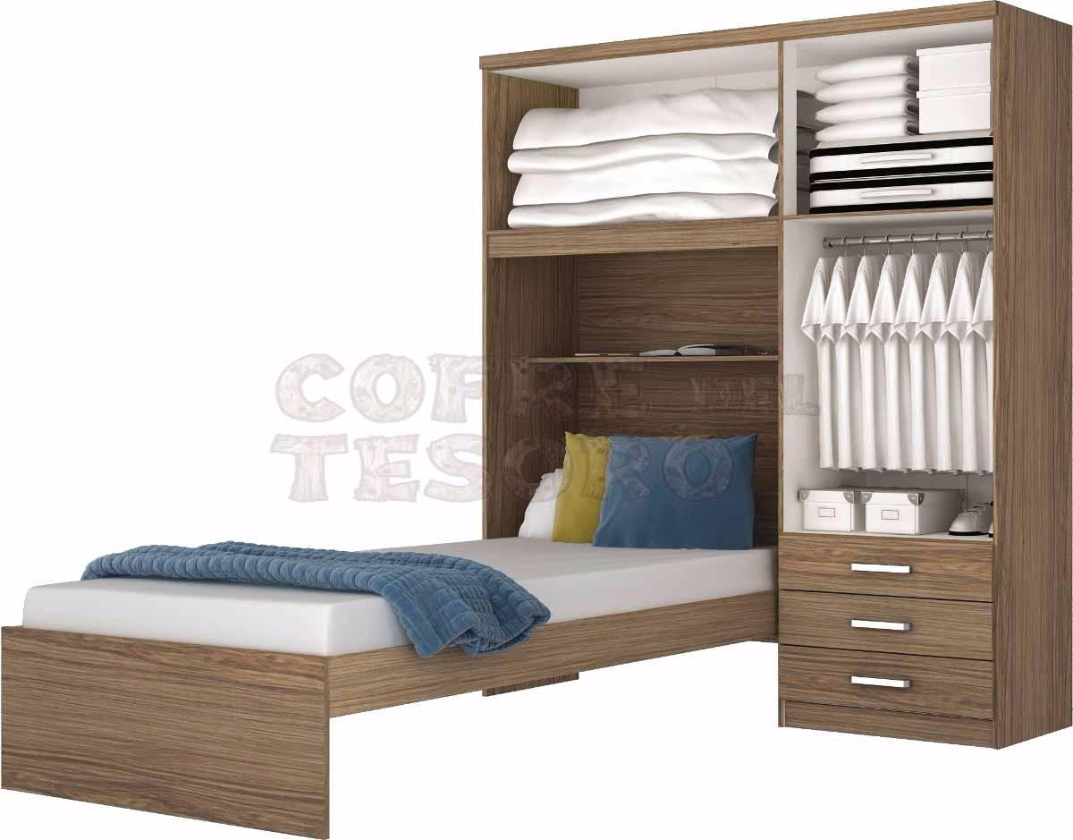 Ropero placard con cama incluida todo en uno for Cama ropero