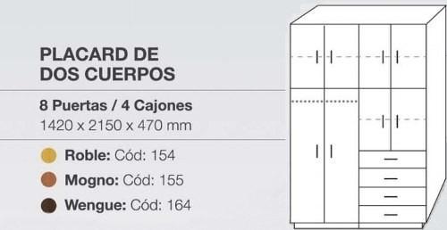 ropero placard dos cuerpos 8 puer 4 cajones orlandi 154/5/64