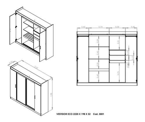 ropero placard melamina 2 puertas corredizas interior 3002 +