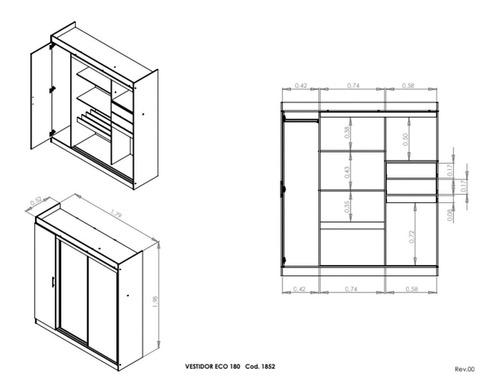 ropero placard melamina placares con puertas cajones 3009