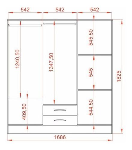 ropero placard mosconi 6 puertas blanco express 2 cajones
