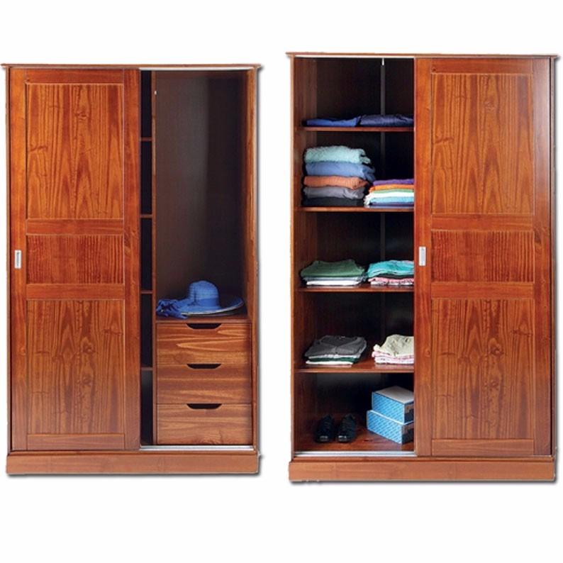 Ropero puertas corredizas madera placard dormitorio for Puertas de madera para dormitorios